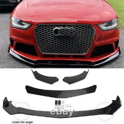 4x Front Bumper Lip Spoiler Lower Splitters Glossy Black For AUDI A3 A4 A5 A6 A7