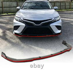 FOR 2018-21 TOYOTA CAMRY SE XSE JDM STYLE GLOSS BLACK FRONT BUMPER LIP Red Trim