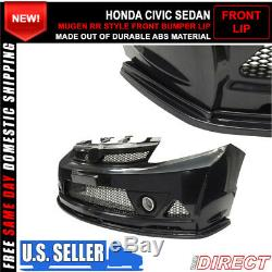 Fits 06-11 Honda Civic 4Dr Mug RR Style Front Bumper Lip For ABS Kit Only 3Pc