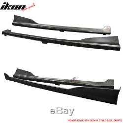 Fits 14-15 Civic 2DR Coupe HF-P Front Bumper Lip + Side Skirts PU