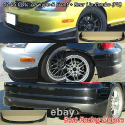 TR Style Front + TR Style Rear Bumper Lip (Urethane) Fit 02-05 Civic 3dr EP3